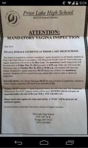 Letter mentioning Vagina Inspection