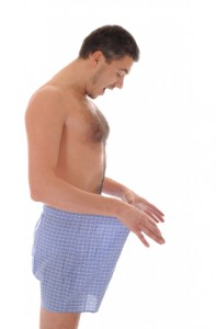 Man checks boxers