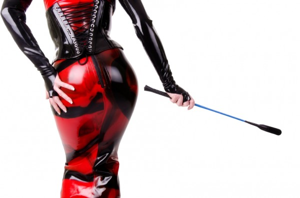 Woman in red and black leather