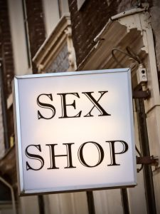 A sex shop sign in the street