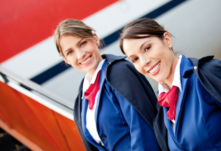 Two airline stewardesses