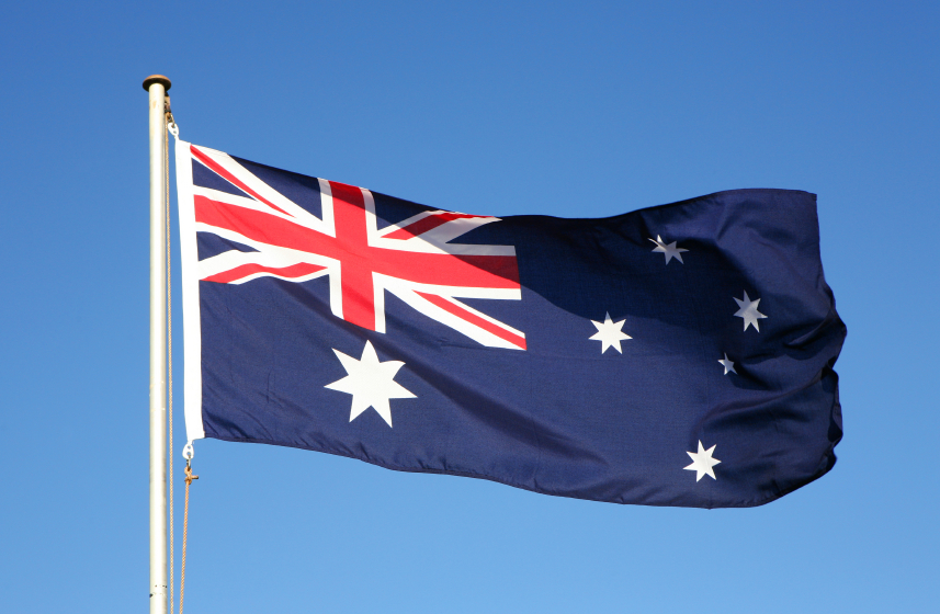The Australian flag fluttering in the wind