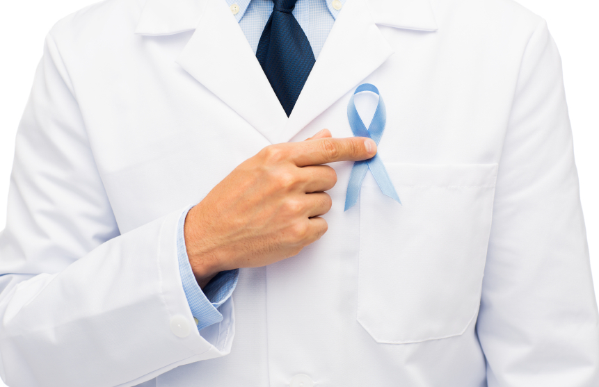 Doctor pointing at blue prostate cancer badge
