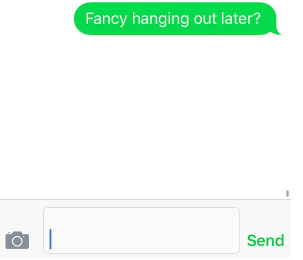 Text asking to hang out