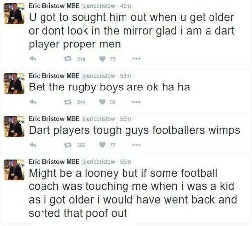 Screenshot of Eric Bristow Tweets