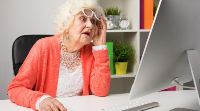 Gran Goes mental after finding porn on husband's laptop