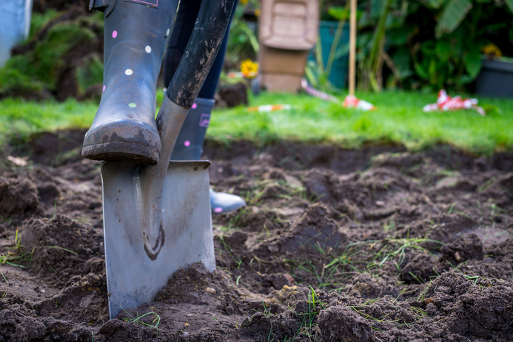 spades and rubber boots in the garden with green grass