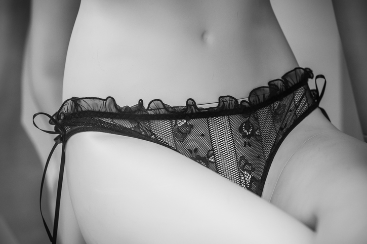 closeup of sexy black underwear on mannequin in fashion store showroom