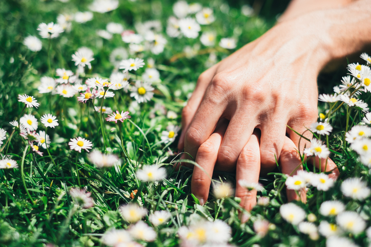 Passion and love on spring concept. Lovers hands on flowers field.