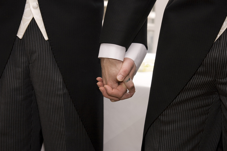 Gay couple holding hands getting married