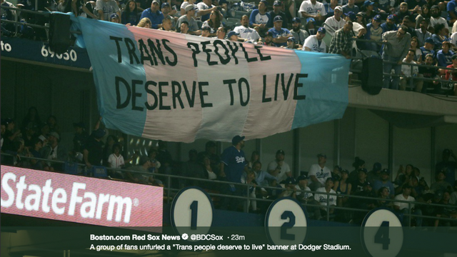 pro trans flag at the World Series