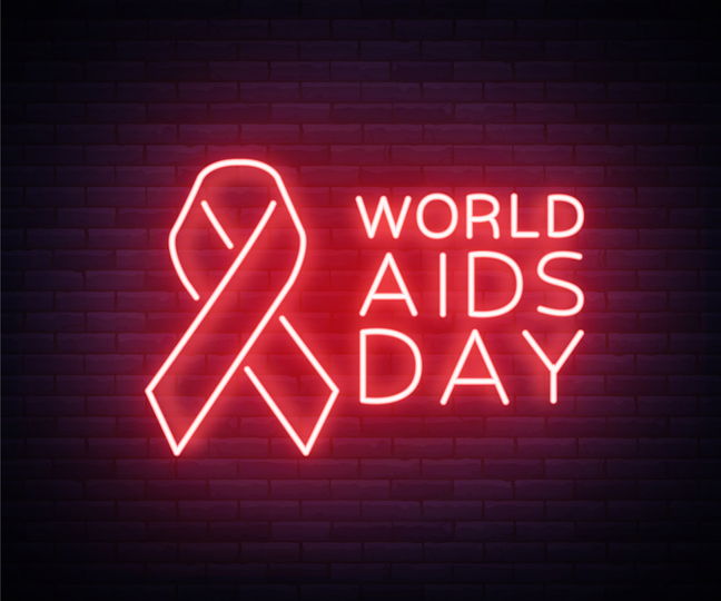 World AIDS Day, December 1, Red tape for HIV infection with text. Vector illustration in a neon style. Neon sign, a symbol for your projects.
