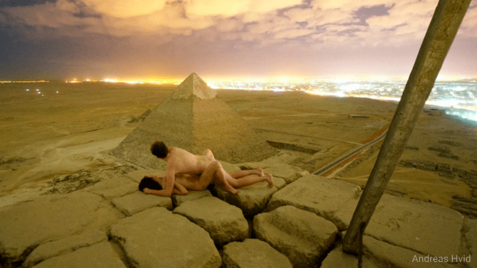 The controversial image taken atop the Great Pyramid