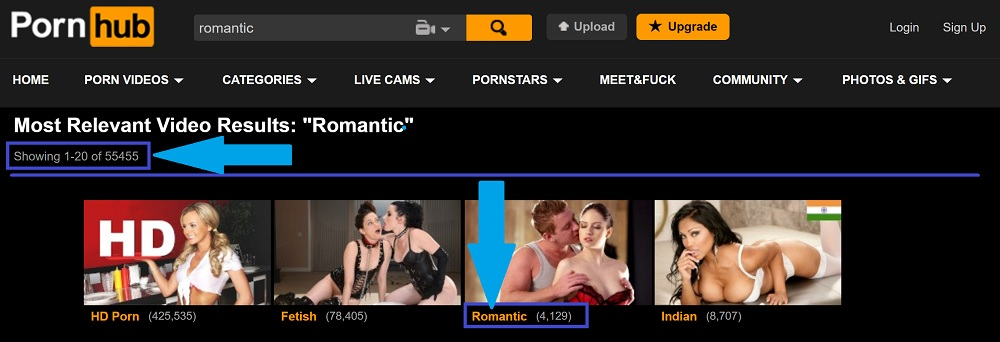 The results from Pornhub searches for romantic porn