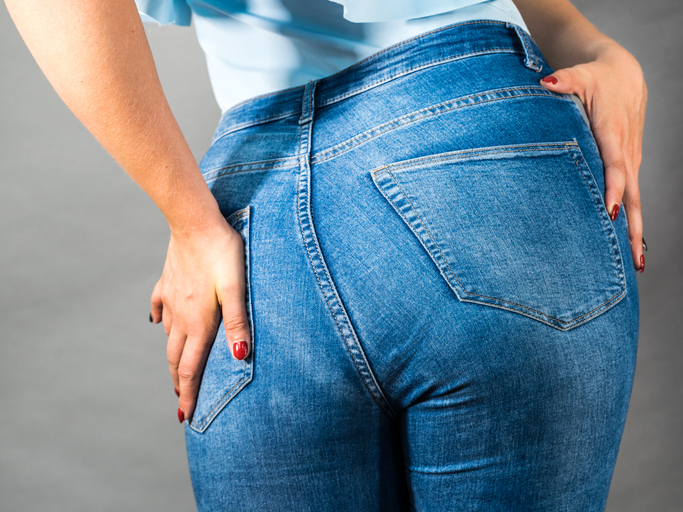 woman in blue jeans